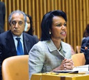 Condoleezza Rice speaks at a U.N. meeting on African development.