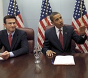 OMB director nominee Peter Orszag joins Obama for discussions of the plan.