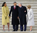The Obamas see the Bushes off after Barack Obama's Jan. 20, 2009, swearing in.