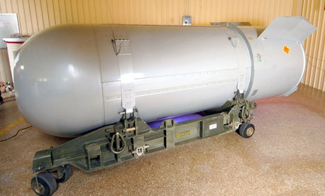 A dismantled nuclear weapon sits in a barn.