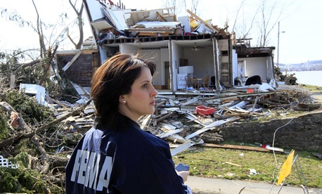 FEMA official Carolyn Deming inspects tornado damage in Ohio March 6.