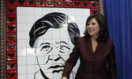 Labor Secretary Hilda Solis dedicated the Cesar Chavez mural in March 2010. The department&#39;s auditorium was named after Chavez.