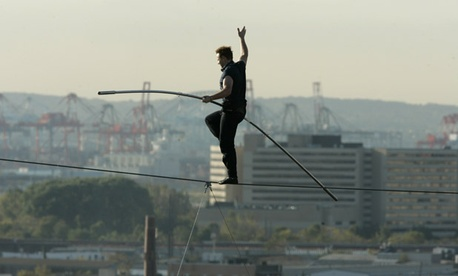 A Wallenda brother walks the tightrope.