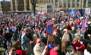 Wisconsin unions rally in favor of collective bargaining rights in Madison.