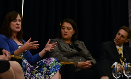 From left, Bridget Roddy, Erica Navarro and Brandon Friedman were part of the panel Monday.