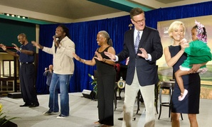 Art Monk National Football League Hall of Famer, La Var Arrington, three time Pro-Bowler, Audrey Rowe, Administrator, Food Nutrition Service,  Joe Scarborough and Mika Brzezinski  celebrate the Agriculture Department's 150 year anniversary.