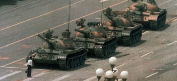 Tiananmen Square was the site of student protests in 1989 documented in an iconic photo.