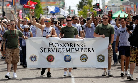 Service members march in the 2011 Gay Pride Parade in San Diego.