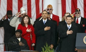 President Obama flanked by VA Secretary Eric Shinseki and Assistant VA Secretary Tammy Duckworth.