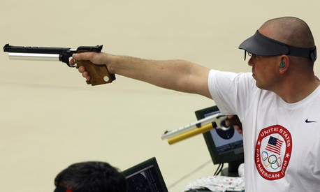 Army Sgt. 1st Class Daryl Szarenski competed in shooting men's 10-m airgun event at the Pan American Games in 2011.