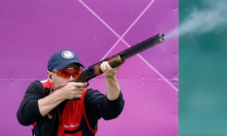 United States of America&#39;s Vincent Hancock shoots during the men&#39;s skeet event.