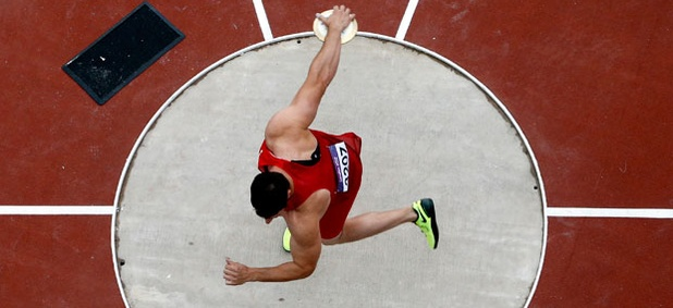 U.S. athlete Lance Brooks competes in the men's discus qualification.