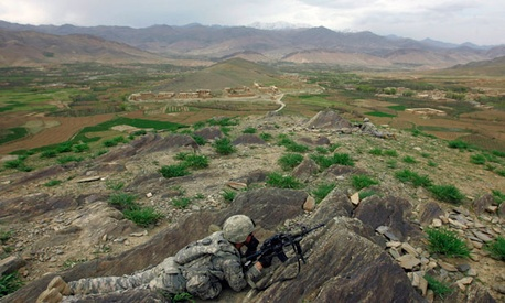 A U.S. soldier holds security duty in Wardak province.