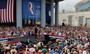 Rep. Paul Ryan addresses the crowd in Norfolk, Va. Saturday.