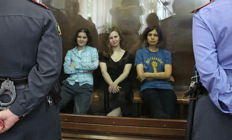 Pussy Riot members await sentencing in Moscow.
