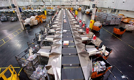 A USPS processing and distribution center in Los Angeles