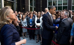 Obama and Secretary of State Hillary Clinton visited the State Department to offer condolences Wednesday.