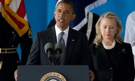 Obama and Clinton spoke Friday at Andrews Air Force Base.
