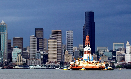 The floating oil-drilling platform Kulluk, normally stationed off Alaska's North coast, moves to Seattle for repairs.