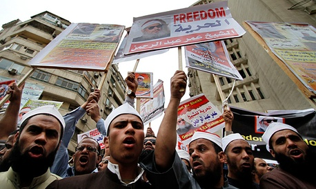 Egyptians protest in fromt of the U.S. Embassy in Cairo.