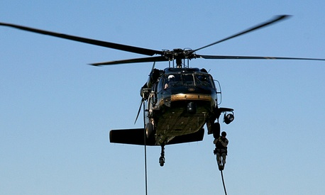 A U.S. Customs and Border Protection Blackhawk helicopter