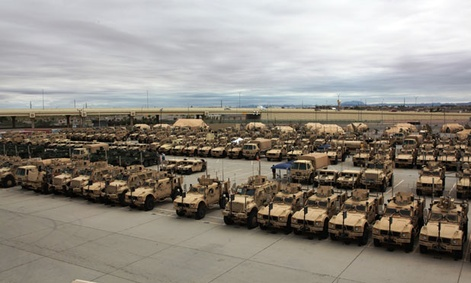More than 360 vehicles sit at the Integration Motor Pool (IMP), located at Fort Bliss, Texas.