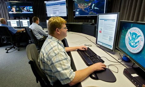 Homeland Security analysts work in a cybersecurity center in 2011.
