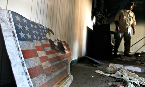 Inside the vandalized U.S. Embassy in Tripoli.