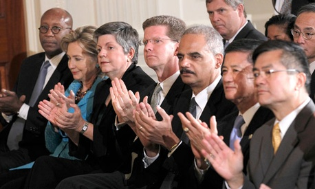 Members of Obama&#39;s cabinet watched the president speak in 2010.