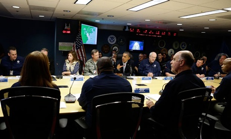 Obama met with FEMA and military leaders Sunday.