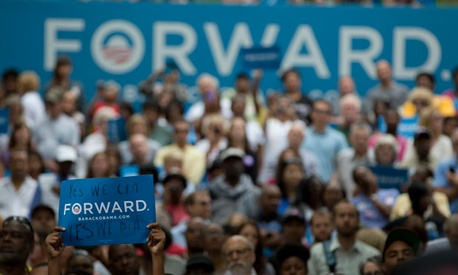 A support holds a sign at an Ohio Obama campaign event earlier in the year.