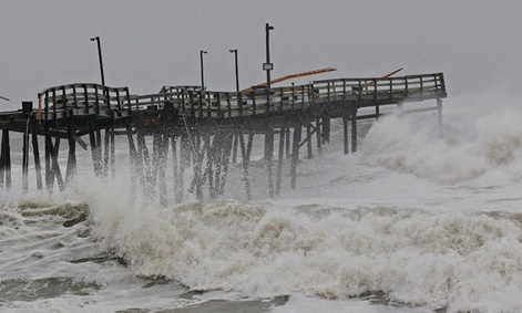 Waves crash in North Carolina as Sandy hits the East Coast.