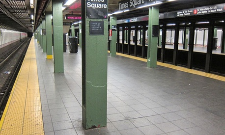 The Times Square station is normally the busiest in the New York system.