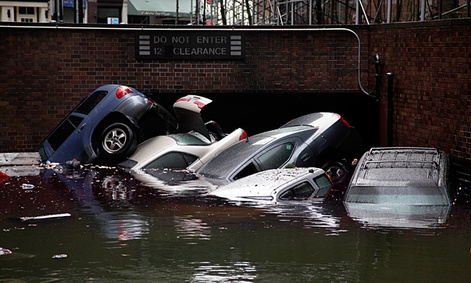 Cars submerged due to flooding in New York.