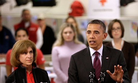 President Barack Obama speaks at the Disaster Operation Center of the Red Cross.