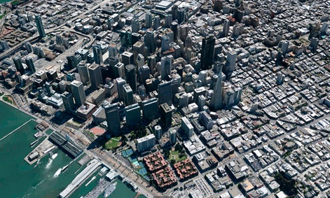 A three-dimensional view of San Francisco on Google&#39;s digital mapping service.