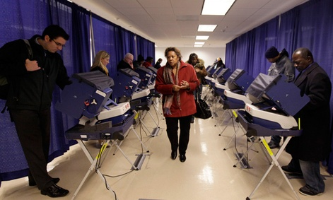 People vote early at a polling place in downtown Chicago.
