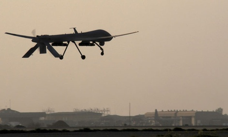 A Predator takes off from Joint Base Balad in Iraq.