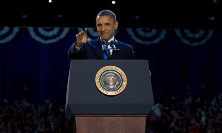 Barack Obama spoke in Chicago after he won reelection Tuesday evening.