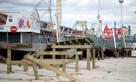 The storm nearly engulfed the Seaside Heights, New Jersey boardwalk.