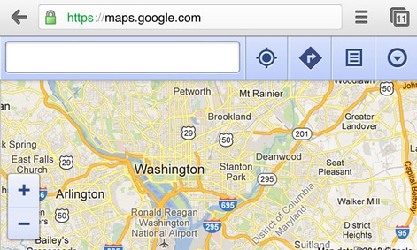 The web version of Google Maps is viewable on iOS browsers, such as mobile Chrome.
