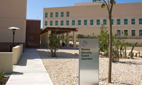 The U.S. Embassy in Malta&#39;s security guards quarters are marked with a large sign.