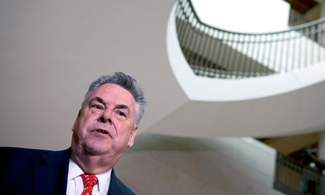 House Homeland Security Committee Chairman Rep. Peter King, R-N.Y. speaks with reporters following the testimony by former CIA Director David Petraeus.