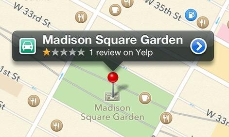 A screenshot of the recently released Apple Maps application