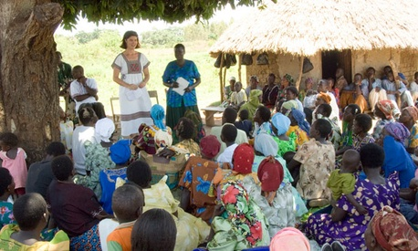 Peace Corps volunteer Megan Chandler worked with a womens cooperative in Uganda from 2003 to 2006 on health education.