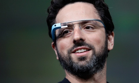 Google co-founder Sergey Brin demonstrates Google&#39;s new Glass, wearable internet glasses.