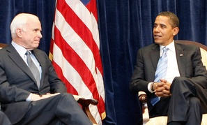President-elect Barack Obama meets with Sen. John McCain, R-Ariz., Monday, Nov. 17, 2008, at Obama'stransition office in downtown Chicago. (AP Photo/Pablo Martinez Monsivais)