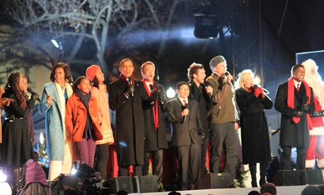 The first family joined all of the National Christmas Tree Lighting Ceremony performers on stage to sing Santa Claus is Coming to Town. SHFWire photo by Tanya Parker