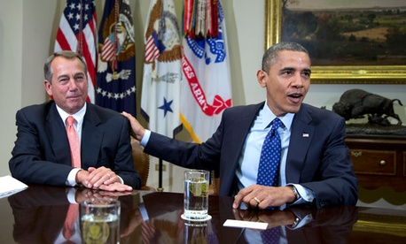Nov. 16, 2012, file photo, Obama and Boehner in the Roosevelt Room. (Carolyn Kaster/AP)