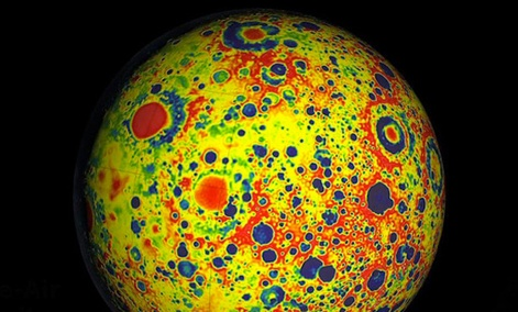 A gravitational map of the moon, depicting newly quantified lunar mass: Red indicates more massive areas and blue indicates less mass.